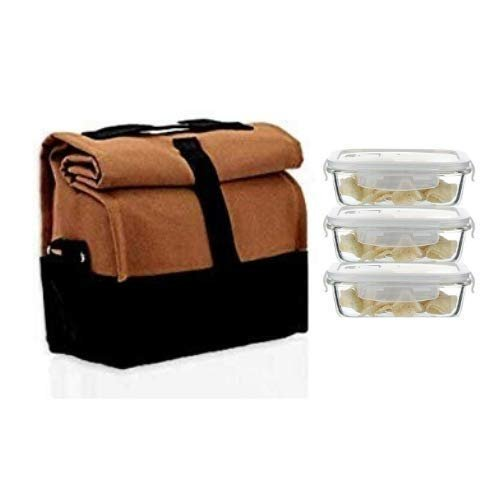 Borosilicate Glass Rectangle Container Camel Black Lunch Box - 400 ML(3 Pcs) with Bag