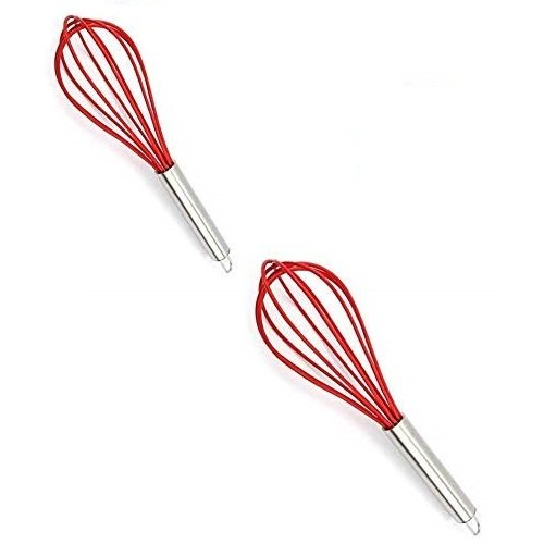 Femora Silicone Premium Egg Whisk with Grip Handle,  Set of 2