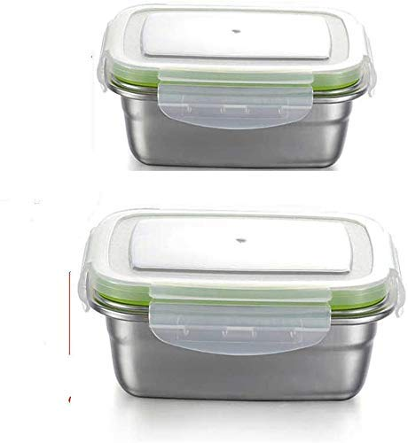 High Steel Rectangle Container with Lock Lid Lunch Box for Office, Storage, Lunch Box - 3800ml, 1800ml Set of 2