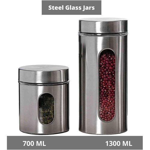 Clear Glass Steel Window Jars - 700ML, 1300ML, Set of 2