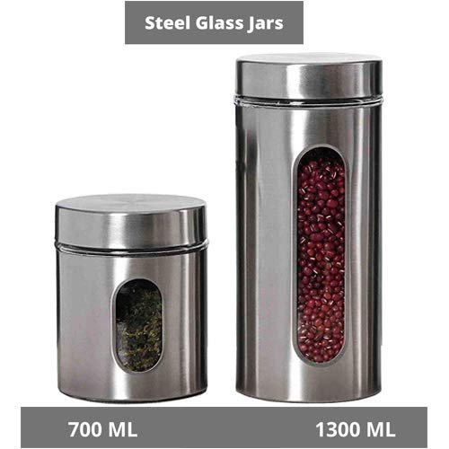 Femora Clear Glass Steel Window Jars for Kitchen Storage, 700ML,1300ML, Set of 2
