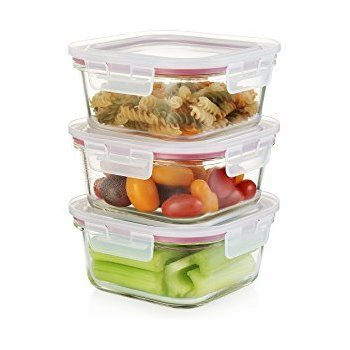 Femora Borosilicate Glass Square Kitchen Food Storage Container with Lid - 300ML,450ML,665ML