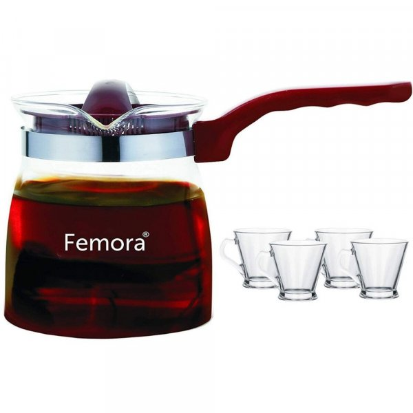 Borosilicate Glass Microwave Safe Flame Proof Tea Pot with Cup