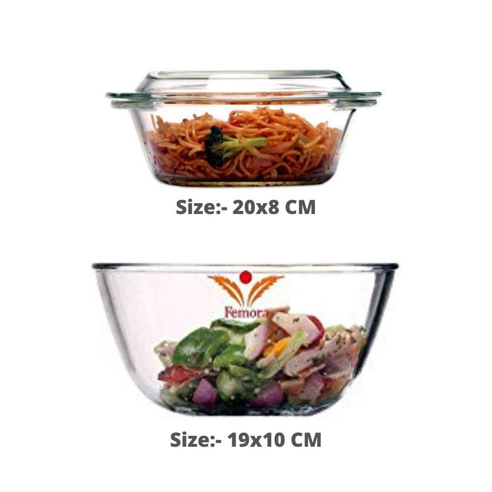 Borosilicate Glass Microwave Safe Mixing Bowl 1650 ML, Serving Casserole 1000 ML, Silicone Spatual Serving Set of 3