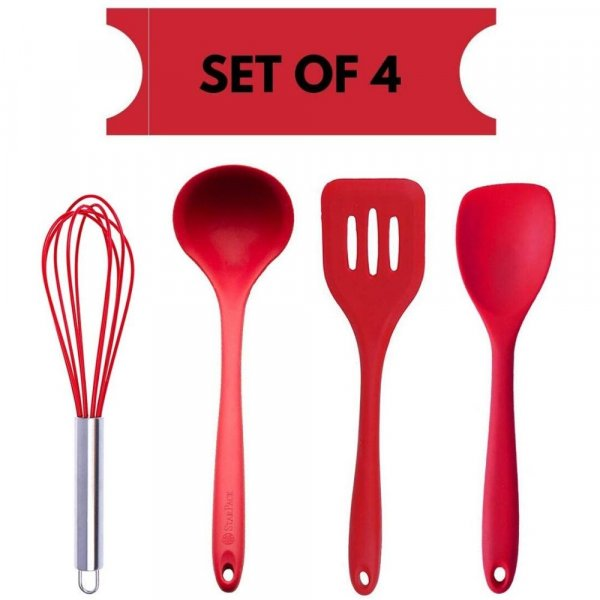 Femora Silicone Premium Egg Whisk, Laddle, Slotted Turner, Spoon with Grip Handle, Set of 4