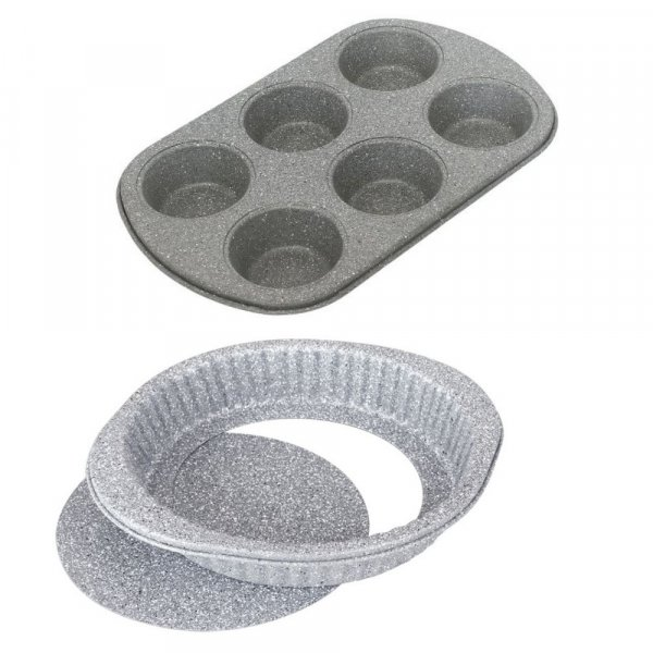 Carbon Steel Stone Ware Non-Stick Coated Baking Muffin Tray and Cake Pan, Set of 2