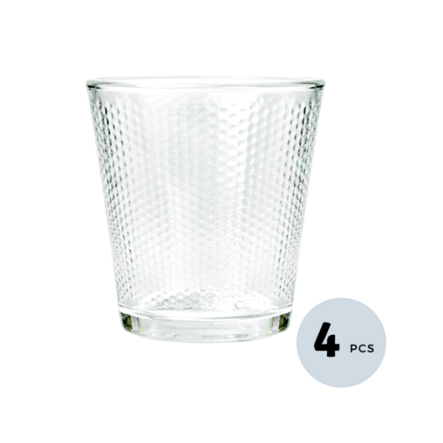Clear Glass Diamond Checker Tumbler - 300 ML, Set of  4