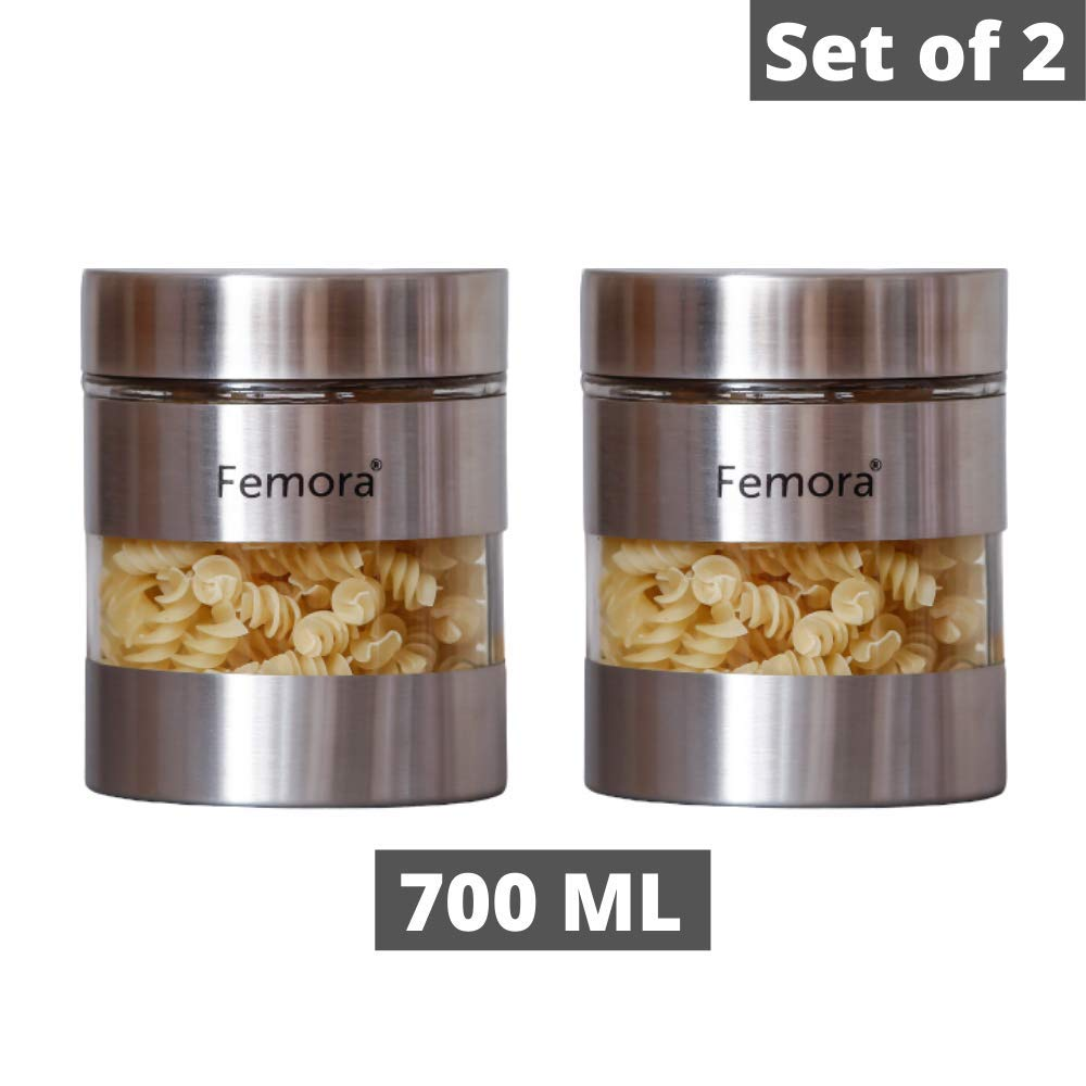 Glass Steel Metallic Jars for Kitchen Storage, 700 ML - Set of 2