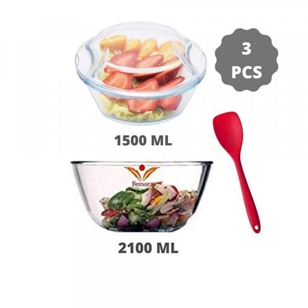 Borosilicate Glass Microwave Safe Mixing Bowl 2100 ML, Serving Casserole 1500 ML, Silicone Spatual Serving, Set of 3
