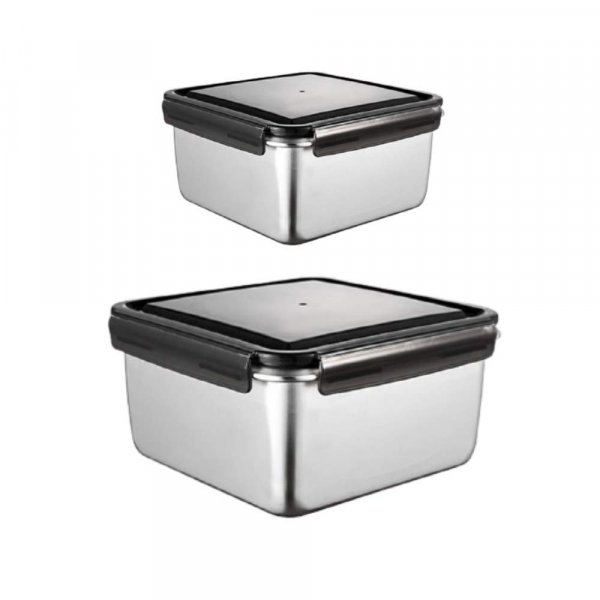 High Steel Square Container Airtight Leakproof Storage Container/Lunch Box - 380 ML_550 ML, Set of 2