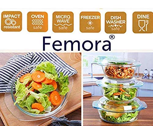 Femora Borosilicate Glass Casserole - 2000 ML