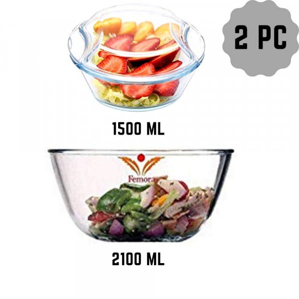 Borosilicate Glass Microwave Safe Mixing Bowl 2100 ML, Serving Casserole 1500 ML, Set of 2