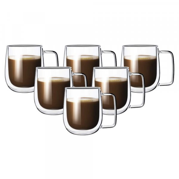 Double Wall Crystal Glass Tea Cup Coffee Mug - 270 ML, Set of 6