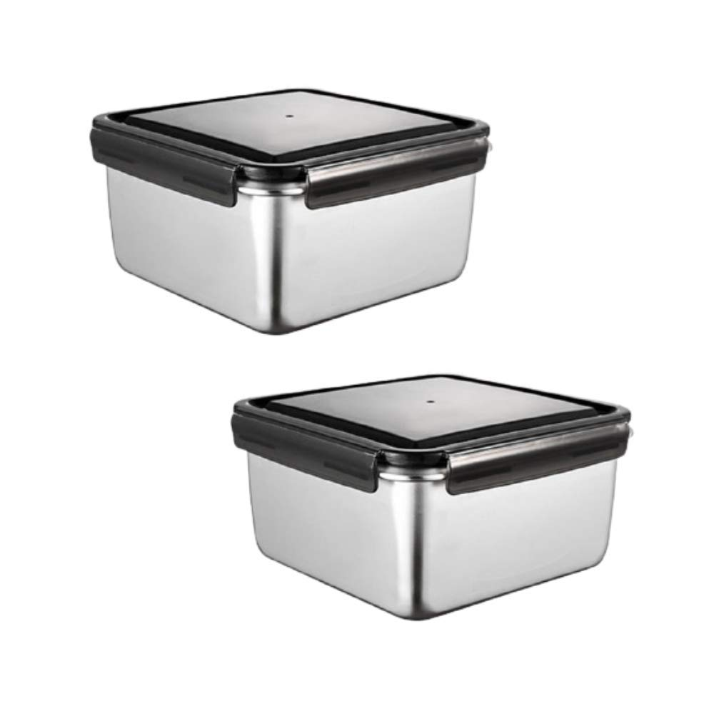High Steel Square Container Airtight Leakproof Storage Container/Lunch Box - 550 ml/gm - Set of 2