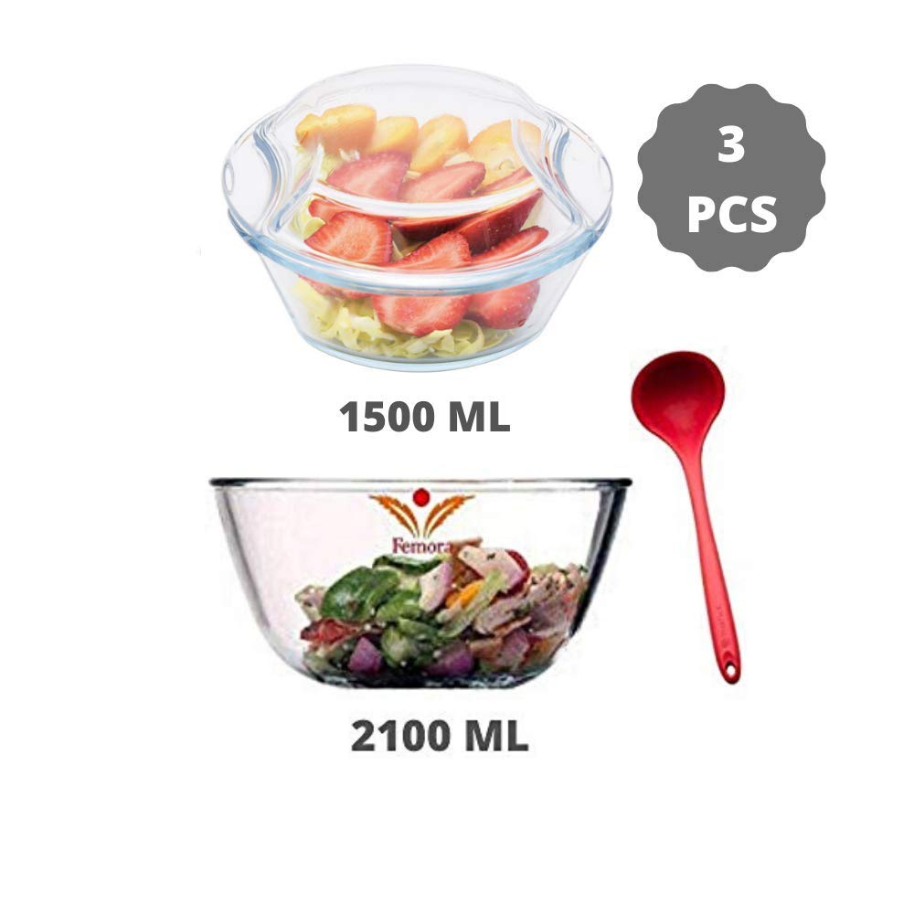 Borosilicate Glass Microwave Safe Mixing Bowl 2100 ML, Serving Casserole 1500 ML, Silicone Laddle Serving, Set of 3