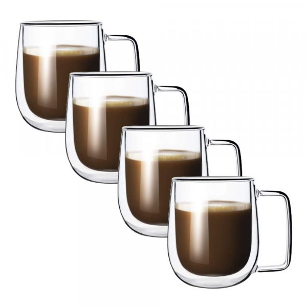 Double Wall Crystal Glass Tea Cup Coffee Mug - 270 ML, Set of 4