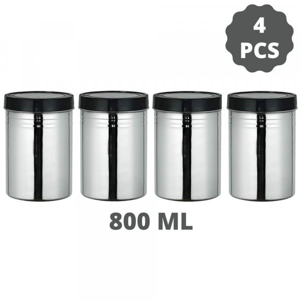 Stainless Steel Storage Jar Set of 4, 800 ML