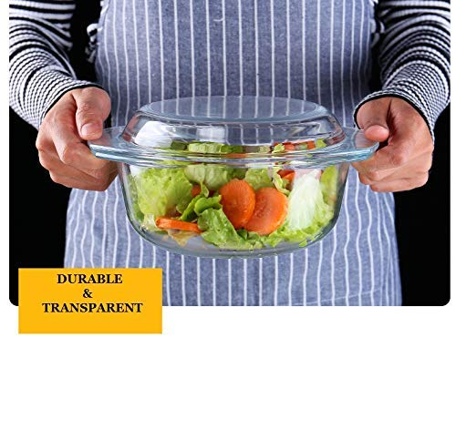 Borosilicate Glass Microwave Safe Mixing Bowl 1650 ML, Serving Casserole 1000 ML, Silicone Laddle Serving, Set of 3
