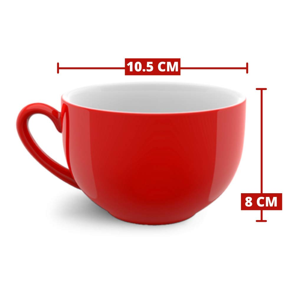 Indian Ceramic Jumbo Coffee Mug Soup Mug Maggie Mug - 400ML - Red - Microwave Safe & Freezer Safe, Set of 3