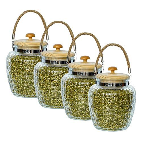 High Line Glass with Bamboo Lid Jar-2000ML, Set of 4