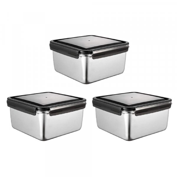 High Steel Square Container Airtight Leakproof Storage Container/Lunch Box - 750 ml/gm - Set of 3