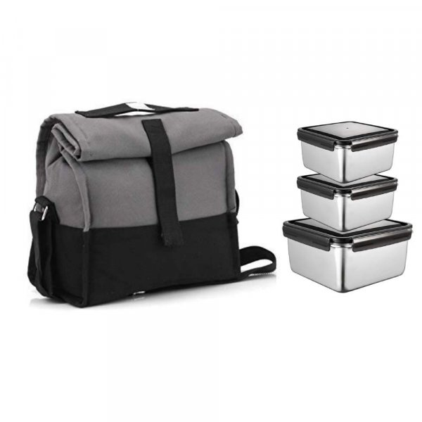 Steel Square Storage Container Lunch Box with Grey Bag - Set of 3
