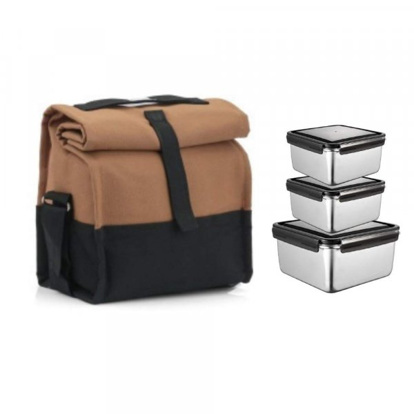 Steel square  Storage Container Lunch Box with Brown Bag - Set of 3