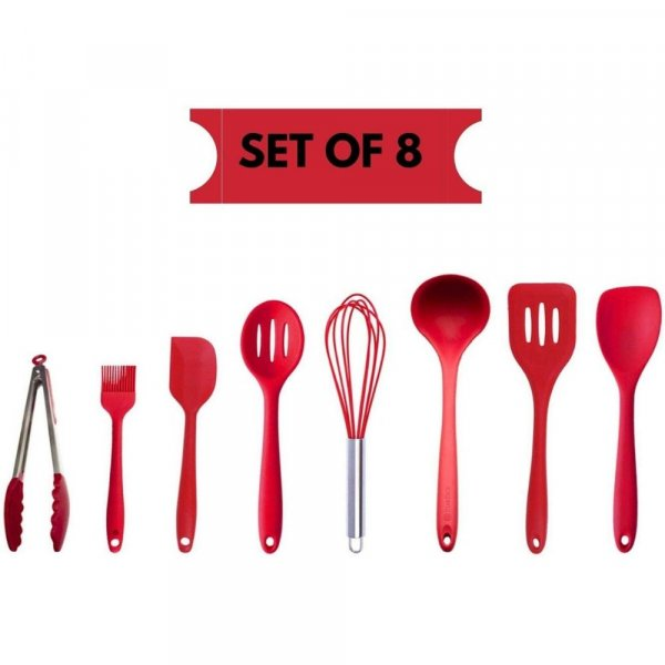 Femora Silicone Premium Kitchen Set with Grip Handle, Red, Set of 8, 1 Year Warranty.