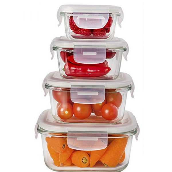 Borosilicate Square Glass Food Storage Containers - (180ml, 300ml, 500ml, 800ml), Set of 4