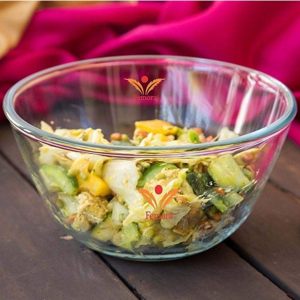 Femora Borosilicate Glass Microwave Safe Mixing Bowl - 3600 ML, Set of 1