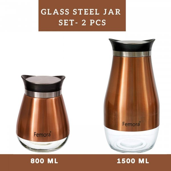 Clear Glass Steel Jar - 800ML, 1500ML
