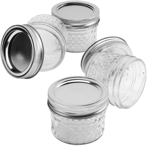 Clear Glass Steel Cap Storage Jars - 150 ML