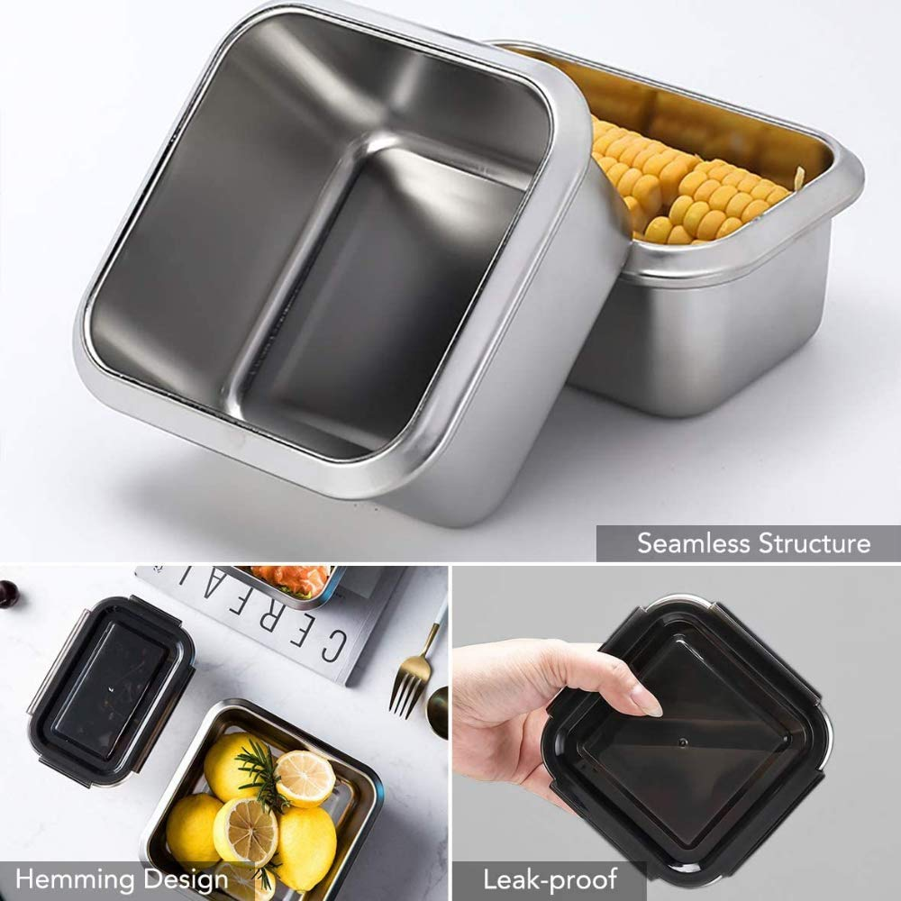 High Steel SS304 Square Container Airtight Leakproof Unbreakable Storage Container/Lunch Box - 750 ml/gm - Set of 2