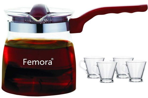 Femora Borosilicate Glass Microwave Safe Flame Proof Tea Pot with Cup Set of 4
