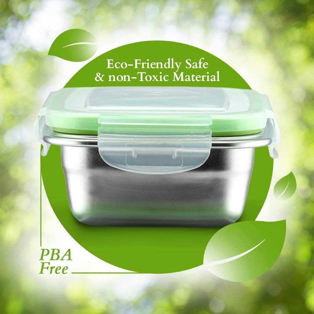 High Steel Rectangle Container Lunch Box with Lock Lid Storage - 350ml, 550ml Set of 2