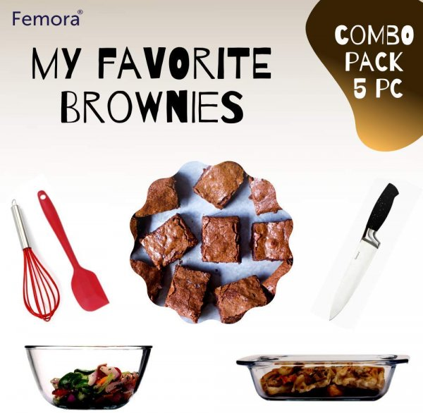 Femora Microwave Safe Bakeware Combo Set with Brownie Cake Receipe