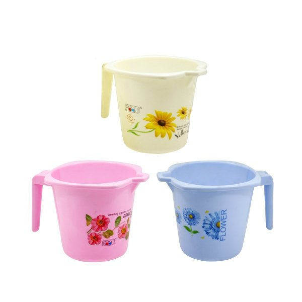 Femora Plastic Bathroom Mug- Set of 3 Mugs(Assorted Colors)