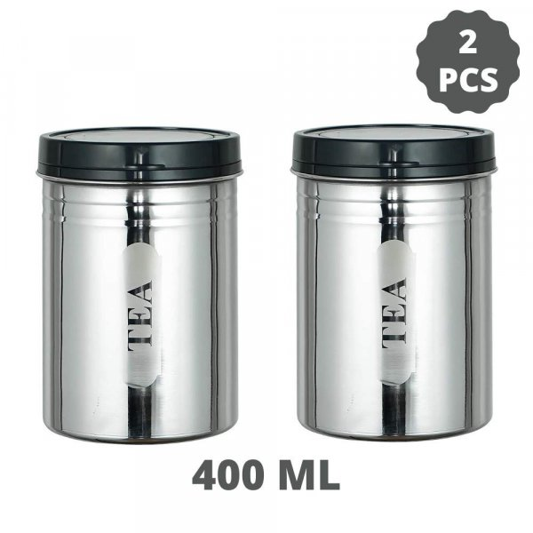Stainless Steel Tea & Coffee Container Jar Set of 2, 400 ML