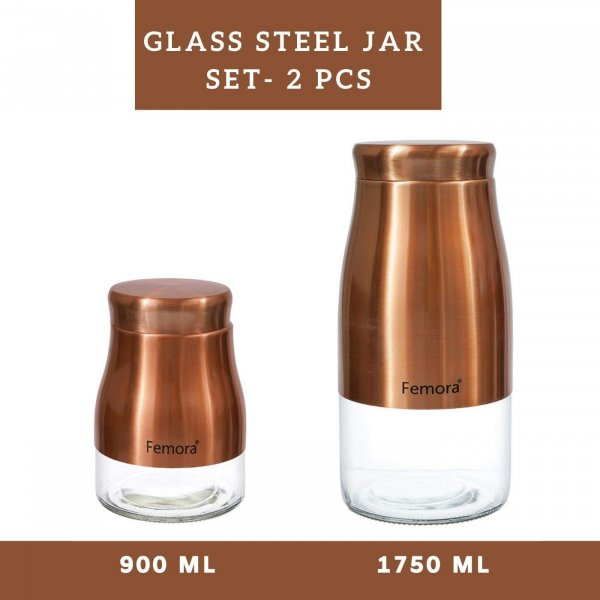 Clear Glass Gold Metallic Steel Jars - 900ML, 1750ML