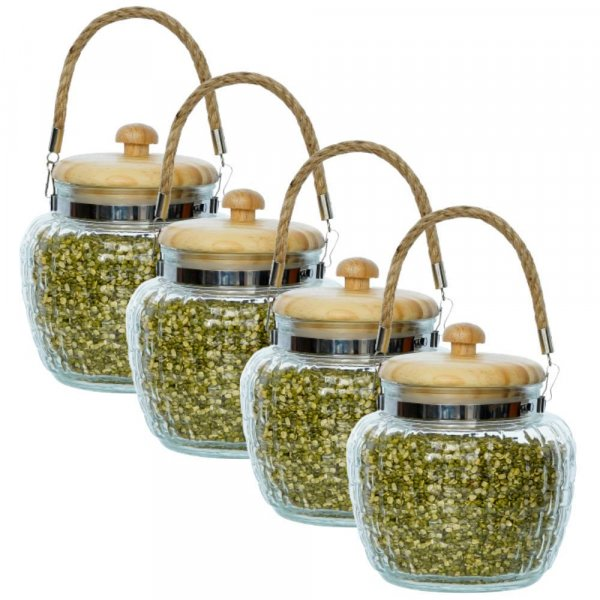 High Line Glass with Bamboo Lid Jar-1500ML, Set of 4