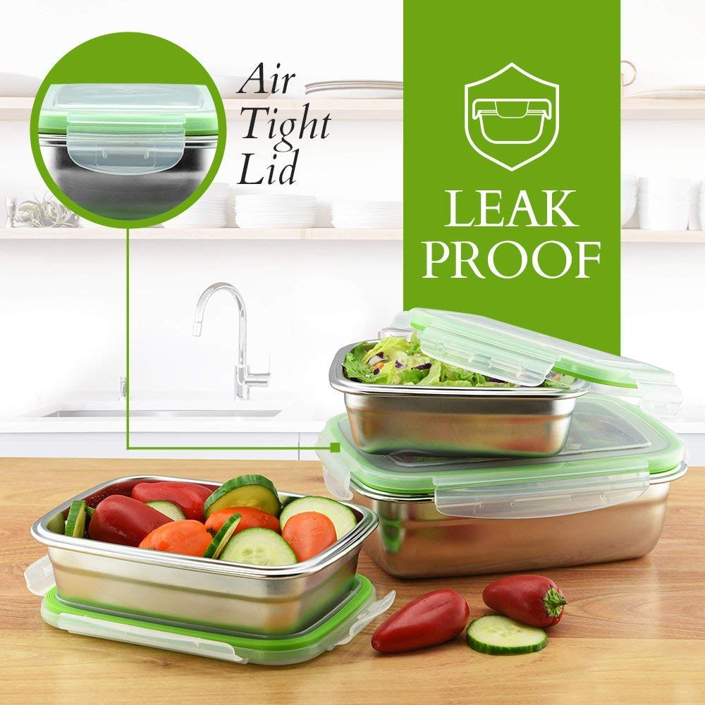 Femora High Steel Rectangle Container with Lock Lid for Kitchen, Storage, Lunch Box - 2800ml, 3800ml Set of 2