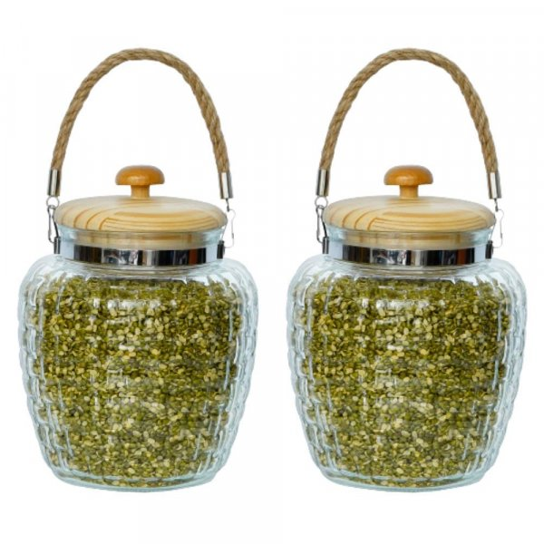High Line Glass with Bamboo Lid Jar-2000ML, Set of 2