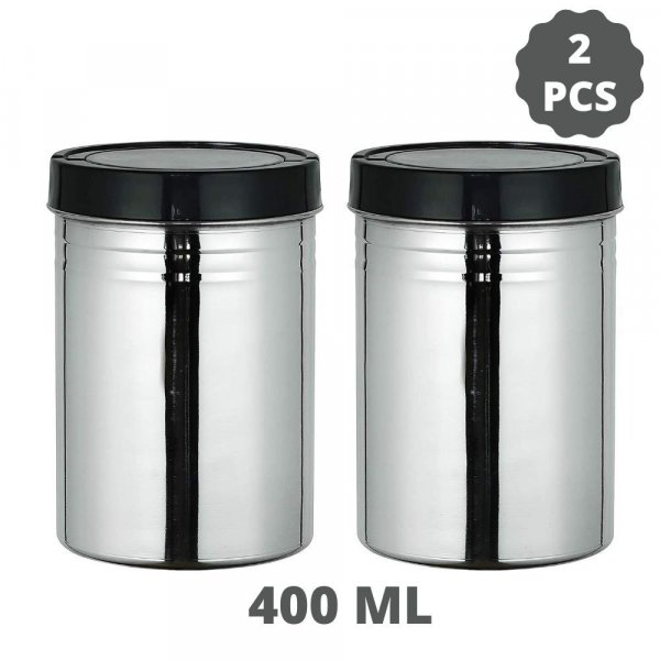 Stainless Steel Storage Jar Set of 2, 400 ML