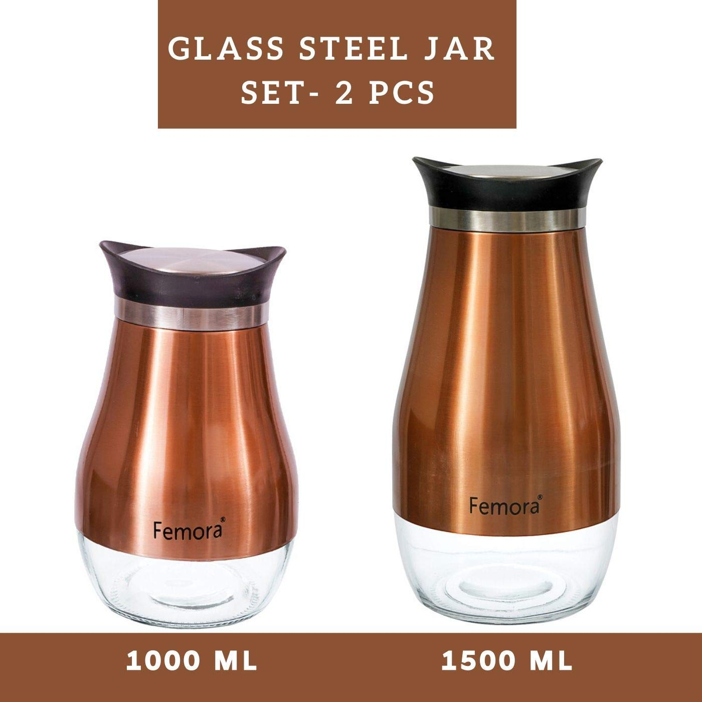 Clear Glass Steel Jar - 1000ML, 1500ML, Set of 2
