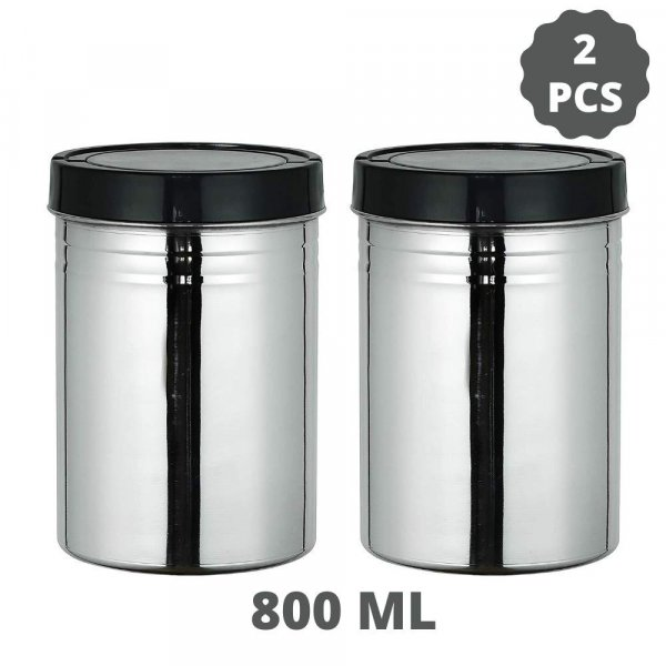 Stainless Steel Storage Jar Set of 2, 800 ML