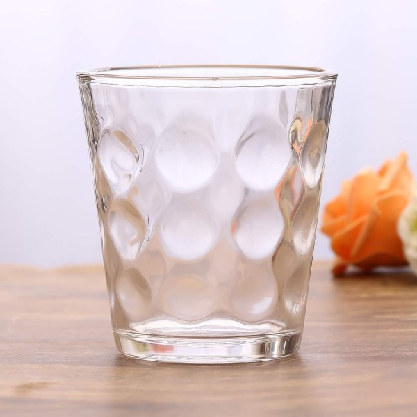 Femora Clear Glass Bubble Water Tumbler - 300 ML, Set of 6