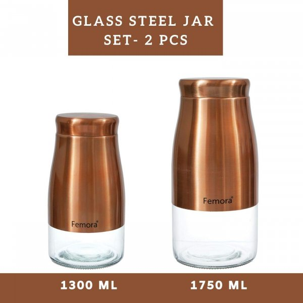 Clear Glass Gold Metallic Jars - 1300ML, 1750ML