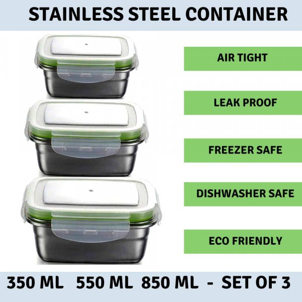 Femora High Steel Rectangle Container with Lock Lid Lunch Box for Office, Storage, Lunch Box - 350ml, 550ml, 850ml Set of 3