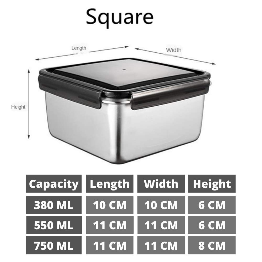 High Steel SS304 Square Container Airtight Leakproof Unbreakable Storage Container/Lunch Box - 380 ML_750 ML, Set of 2 Visit the Femora Store