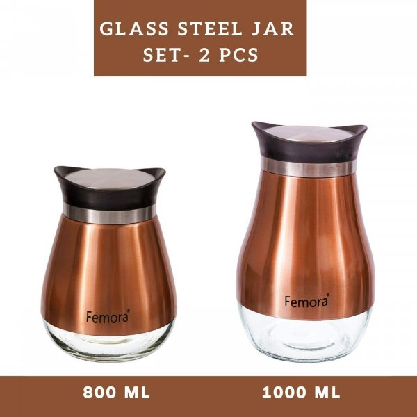 Clear Glass Steel Jar- 800ML, 1000ML